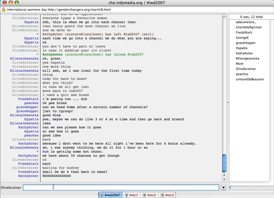 Screenshot of an instant on IRC